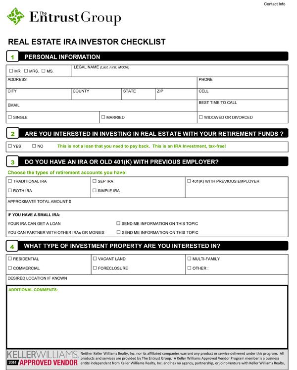 KW Real Estate IRA Investor Checklist